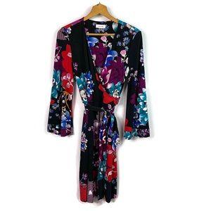Calvin Klein Black Floral Faux Wrap Kimono Dress 8